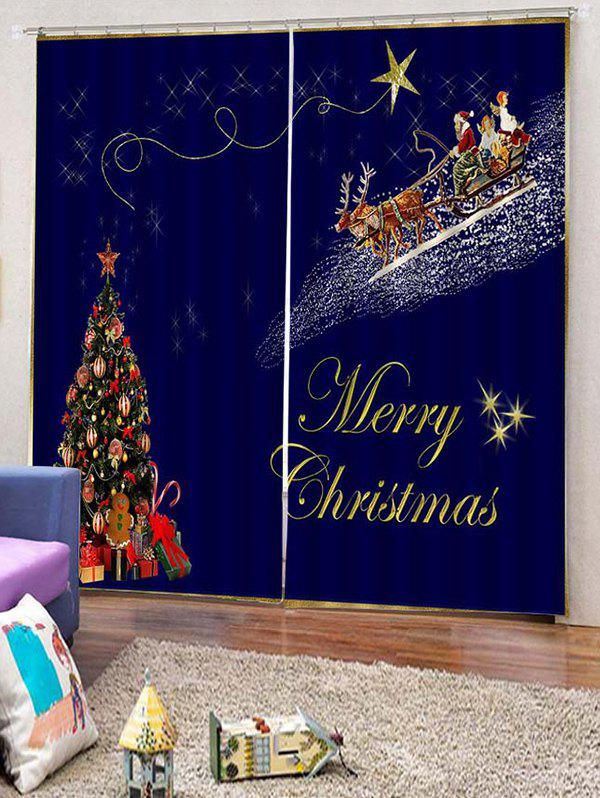 Online 2PCS Father Christmas Tree Gift Pattern Window Curtains