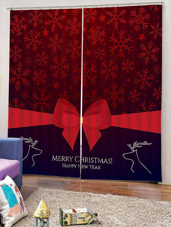 Shop 2PCS Merry Christmas Deer Bowknot Pattern Window Curtains