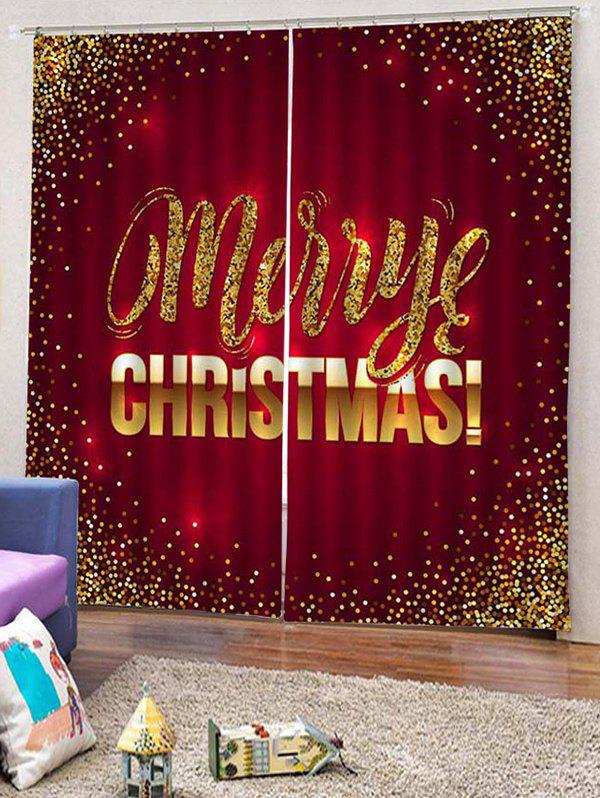 New 2PCS Merry Christmas Pattern Window Curtains