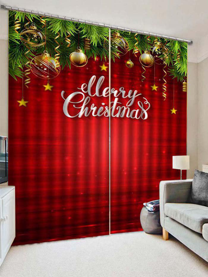 Sale 2PCS Merry Christmas Star Printed Window Curtains