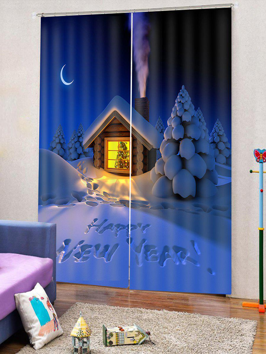 New 2PCS Christmas Happy New Year Pattern Window Curtains