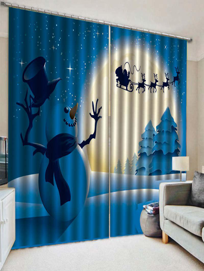 Outfit 2PCS Christmas Night Snowman Deer Pattern Window Curtains