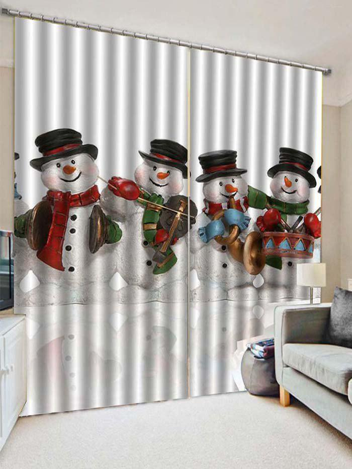 Online 2PCS Christmas Music Snowman Pattern Window Curtains