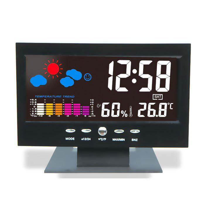 Store Perpetual Calendar Temperature Humidity Color Screen Clock Weather Forecast LCD Backlight Alarm Clock