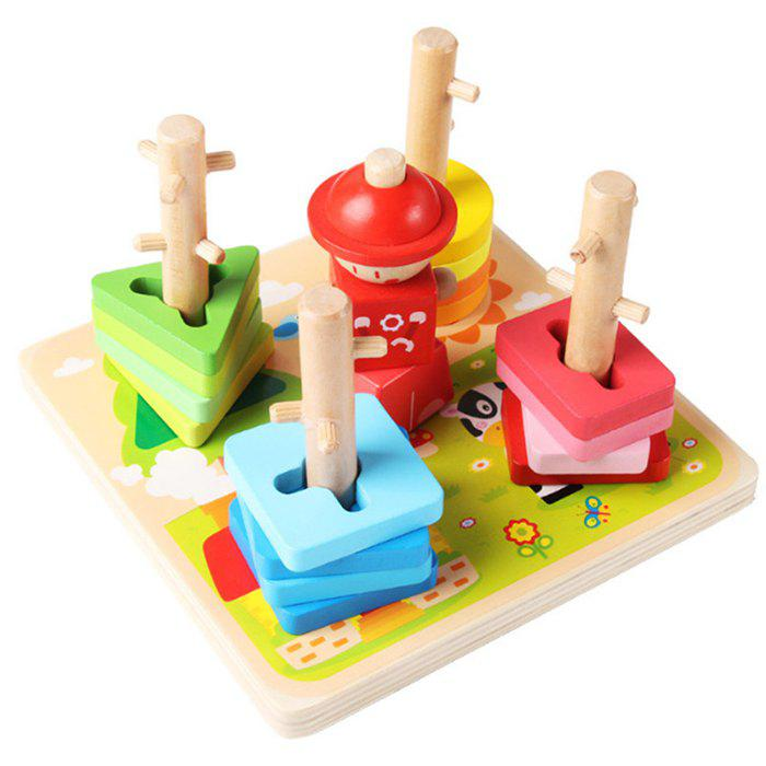 Buy Geometric Shape Matching Toy Montessori Early Childhood Education Intellectual Baby Five Sets Of Column Blocks Cognitive Children 1 - 2 - 3 Years Old