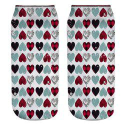 7 - YZ9431 3D Printed Polyester Socks with Love Pattern -