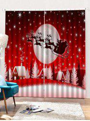 2PCS Father Christmas Deer Night Window Curtains -