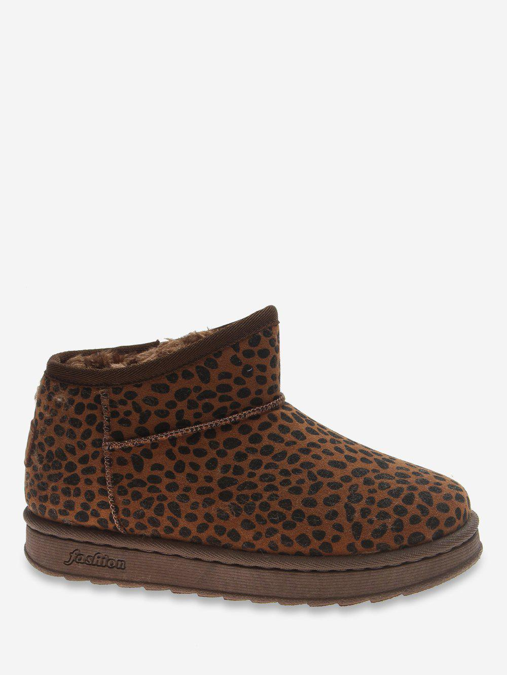 Outfit Leopard Print Flat Snow Boots