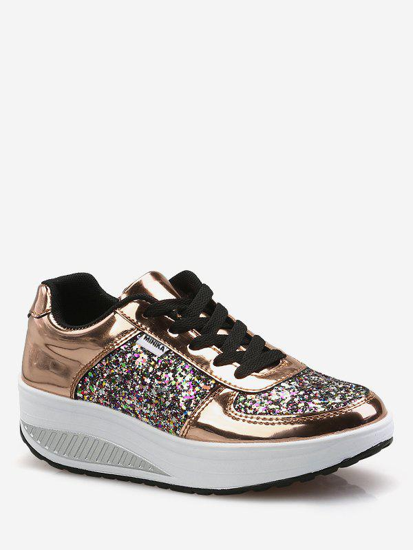 Outfits Sequined Patch Platform Running Sneakers