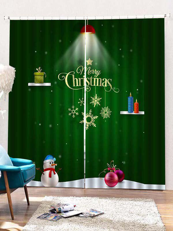 Affordable 2PCS Merry Christmas Gift Snowman Pattern Window Curtains