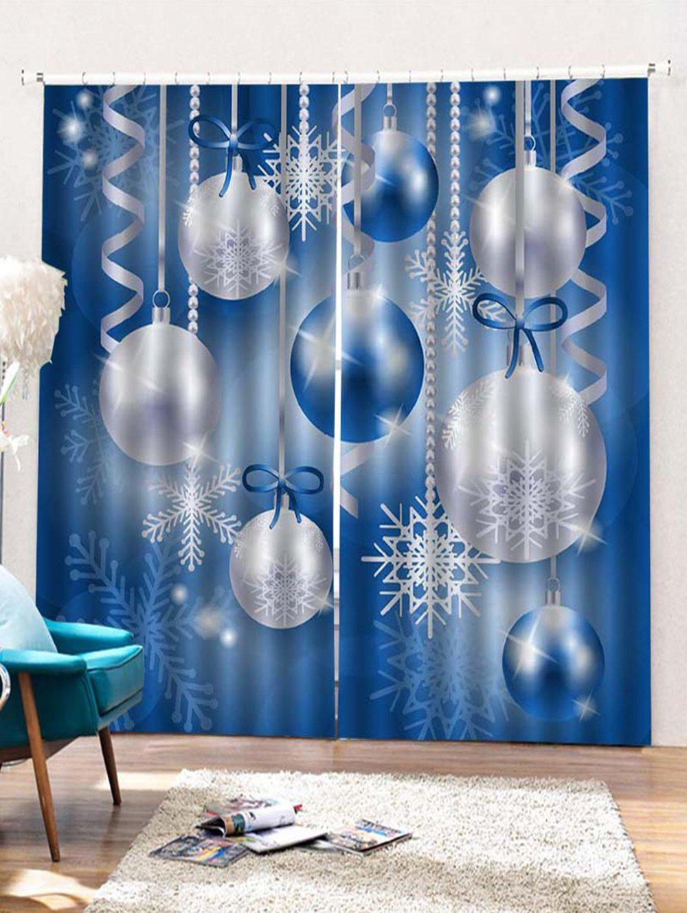 Latest 2PCS Christmas Snowflake Ball Pattern Window Curtains