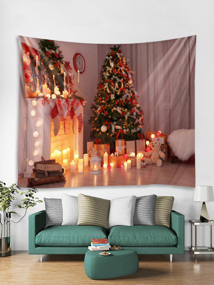 Discount 3D Christmas Tree Candle Bear Tapestry Art Decoration
