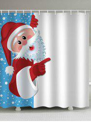 Christmas Santa Claus Print Waterproof Bath Curtain -