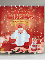 Christmas Santa Claus Blessing Print Waterproof Shower Curtain -