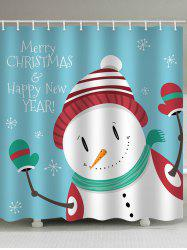 Christmas Snowman Blessing Print Waterproof Shower Curtain -