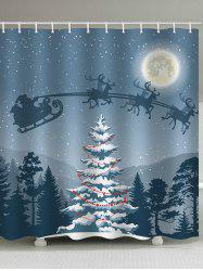 Christmas Night Tree Print Waterproof Bathroom Shower Curtain -