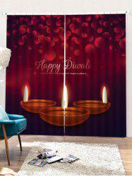 2PCS Christmas Candles Pattern Window Curtains -
