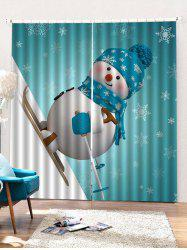 2PCS Skiing Christmas Snowman Pattern Window Curtains -