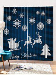 2PCS Merry Christmas Snowflake Deer Pattern Window Curtains -