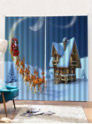 2PCS Father Christmas Deer Pattern Window Curtains -