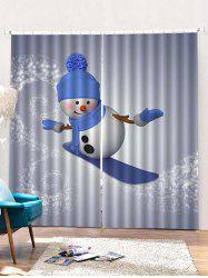 2PCS Christmas Skiing Snowman Pattern Window Curtains -