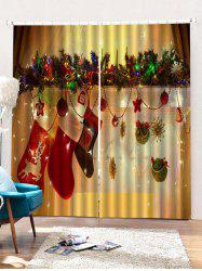 2PCS Christmas Gift Stockings Pattern Window Curtains -