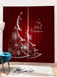 2PCS Merry Christmas Snowflake Pattern Window Curtains -