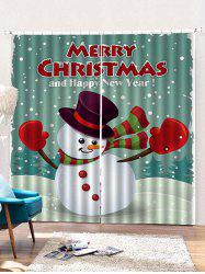 2PCS Merry Christmas Snowman Pattern Window Curtains -