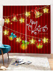2PCS Merry Christmas Bell Star Pattern Window Curtains -