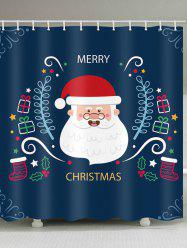 Christmas Santa Print Waterproof Bathroom Shower Curtain -