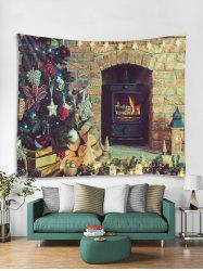 Christmas Fireplace Tree Print Tapestry Wall Hanging Art Decor -