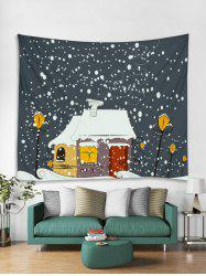 Snowy Christmas House Print Tapestry Wall Hanging Art Decoration -