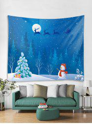 Christmas Night Snowman Print Tapestry Wall Hanging Art Decoration -
