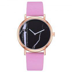 Montre de quartz de marbre d'affaires de mode d'affaires - Rose  NOIR CADRAN