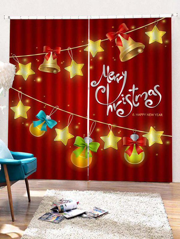 Outfit 2PCS Merry Christmas Bell Star Pattern Window Curtains