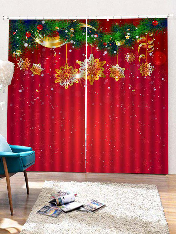 2pcs Christmas Snowflake Window Curtains W30 X L65 Inch