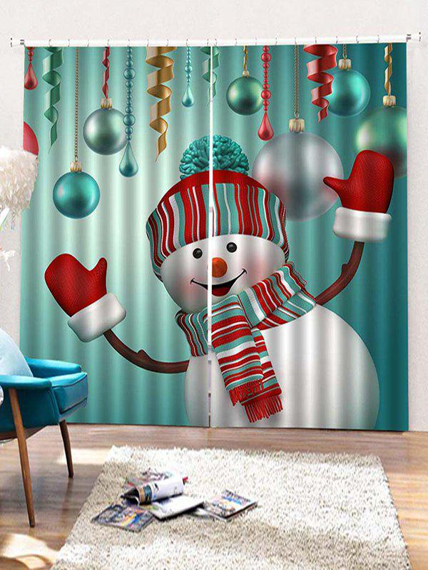 Hot 2PCS Christmas Snowman Pattern Window Curtains