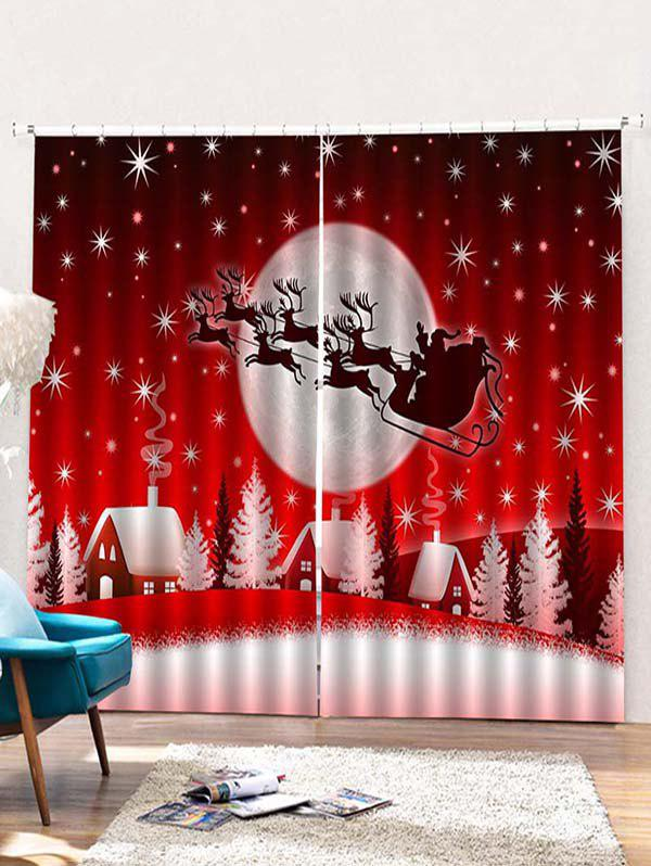 Latest 2PCS Father Christmas Elk Pattern Window Curtains