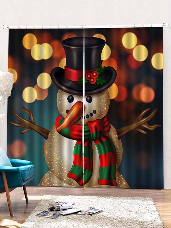 Outfit 2PCS Christmas Snowman Window Curtains