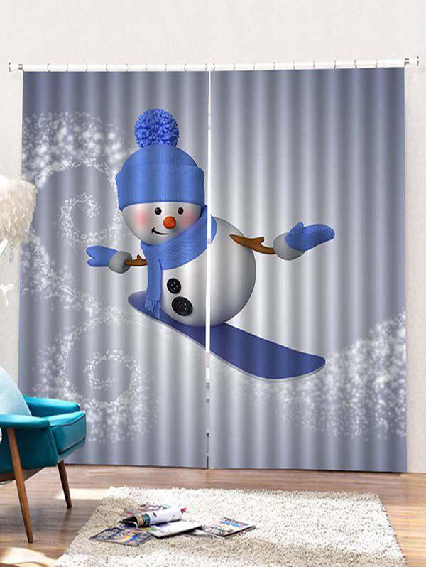 New 2PCS Christmas Skiing Snowman Pattern Window Curtains