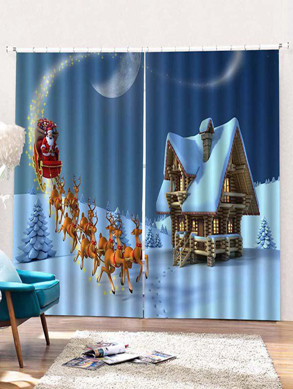 Online 2PCS Father Christmas Deer Pattern Window Curtains