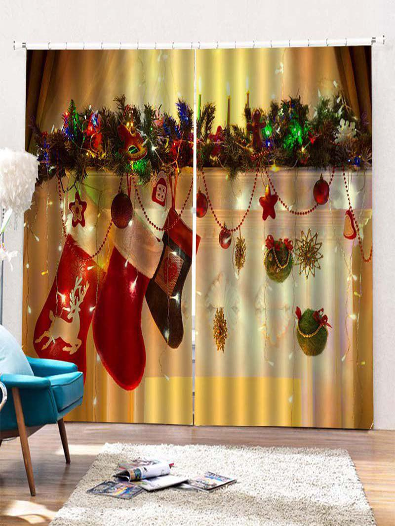 Hot 2PCS Christmas Gift Stockings Pattern Window Curtains