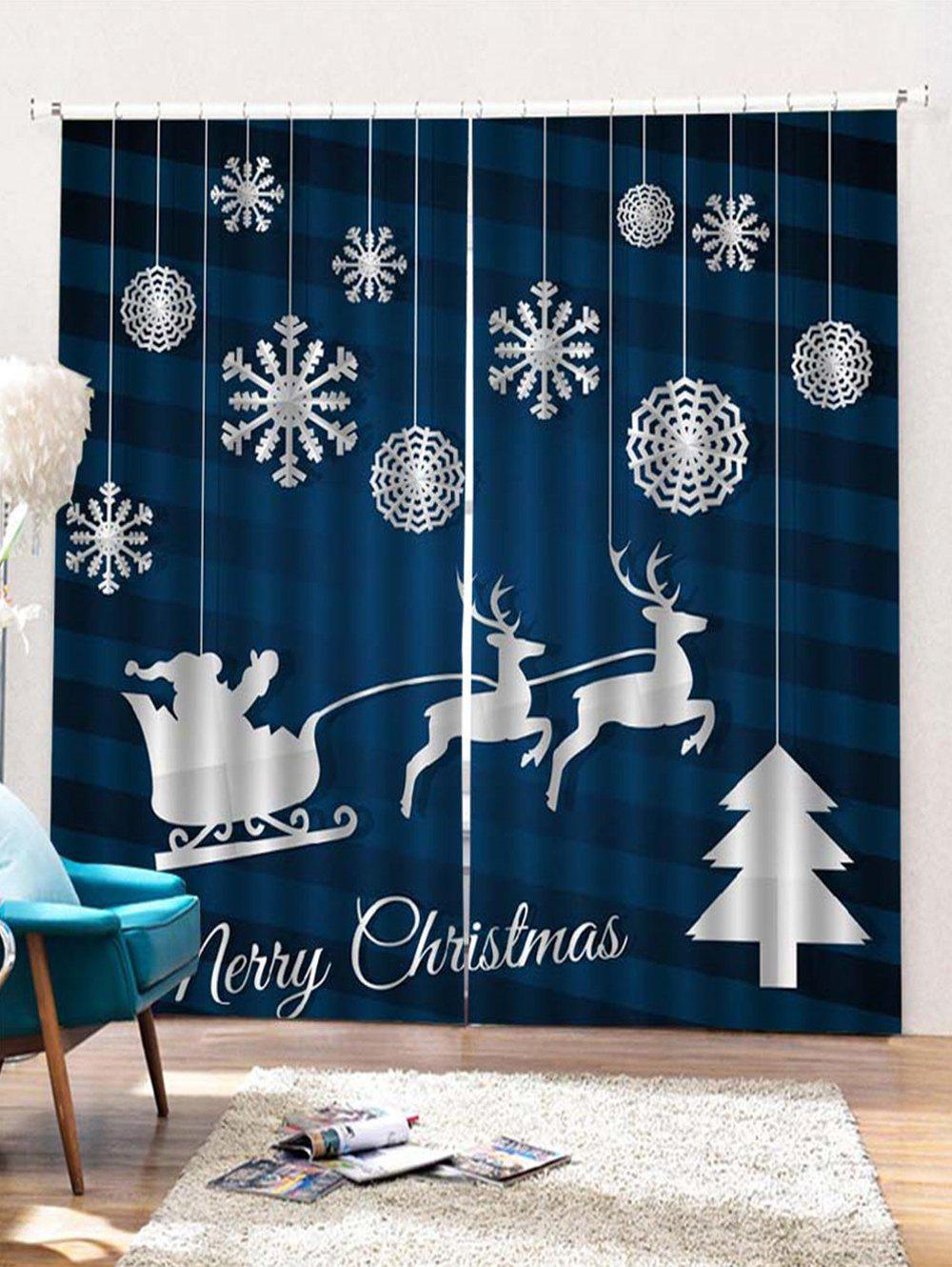 Shops 2PCS Merry Christmas Snowflake Deer Pattern Window Curtains