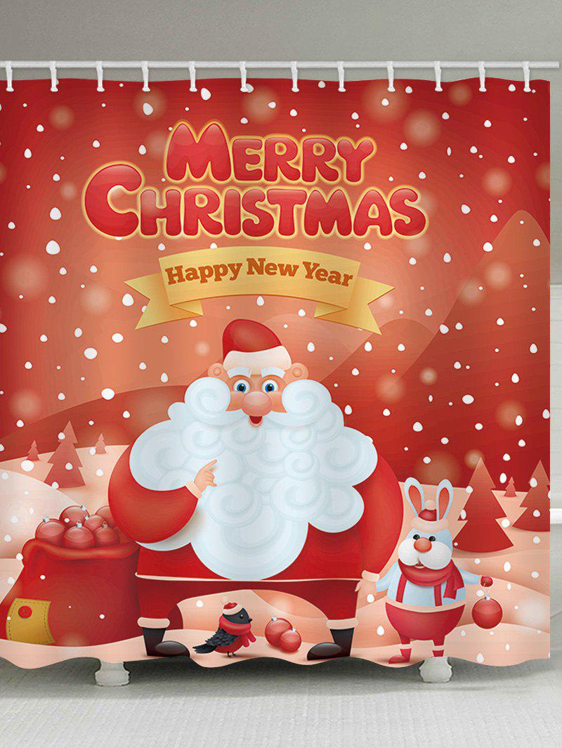 Outfit Christmas Santa Claus Blessing Print Waterproof Shower Curtain