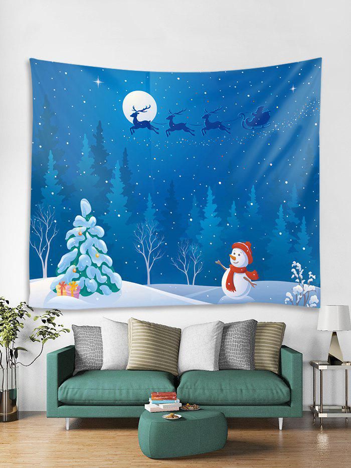 Online Christmas Night Snowman Print Tapestry Wall Hanging Art Decoration