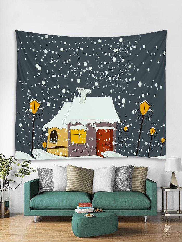 Sale Snowy Christmas House Print Tapestry Wall Hanging Art Decoration