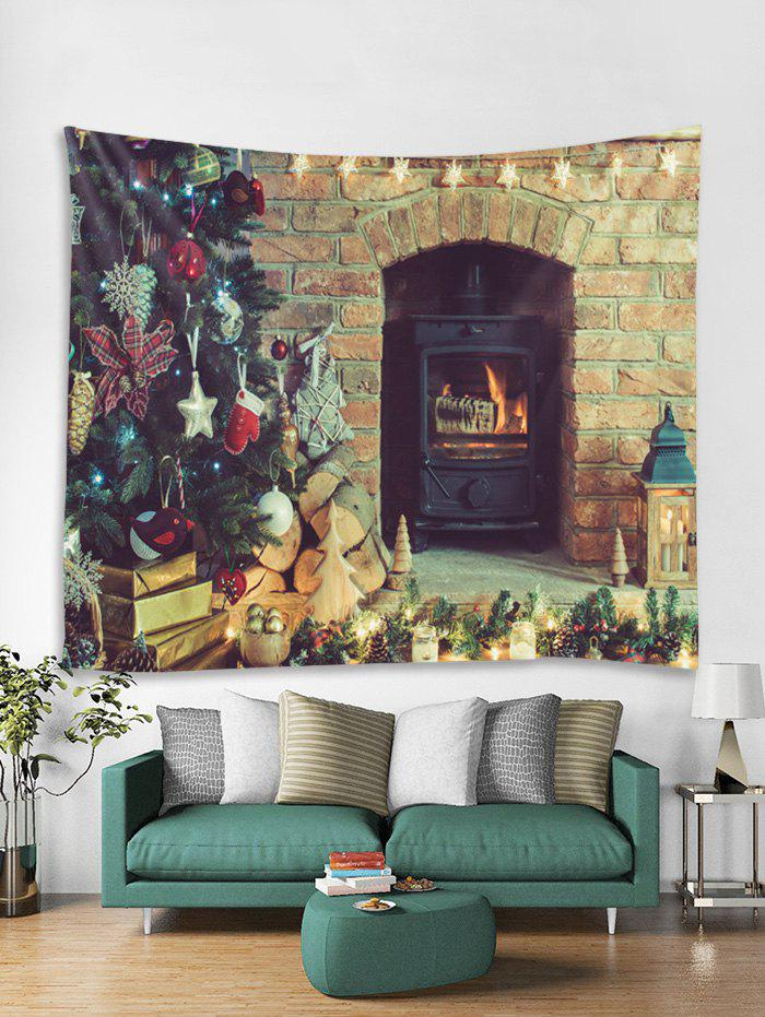 Discount Christmas Fireplace Tree Print Tapestry Wall Hanging Art Decor
