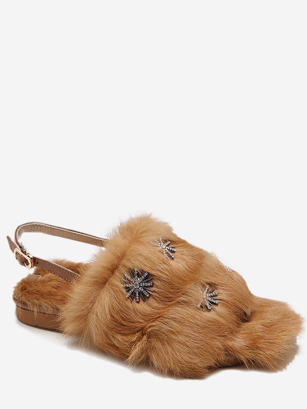 Fashion Snowflake Decorative Faux Fur Slippers