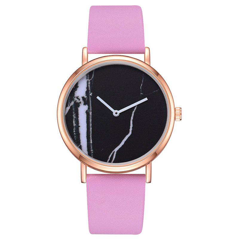 Montre de quartz de marbre d'affaires de mode d'affaires Rose  NOIR CADRAN