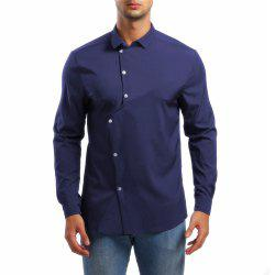 Men's Asymmetrical Lapel Long Sleeve Shirt -